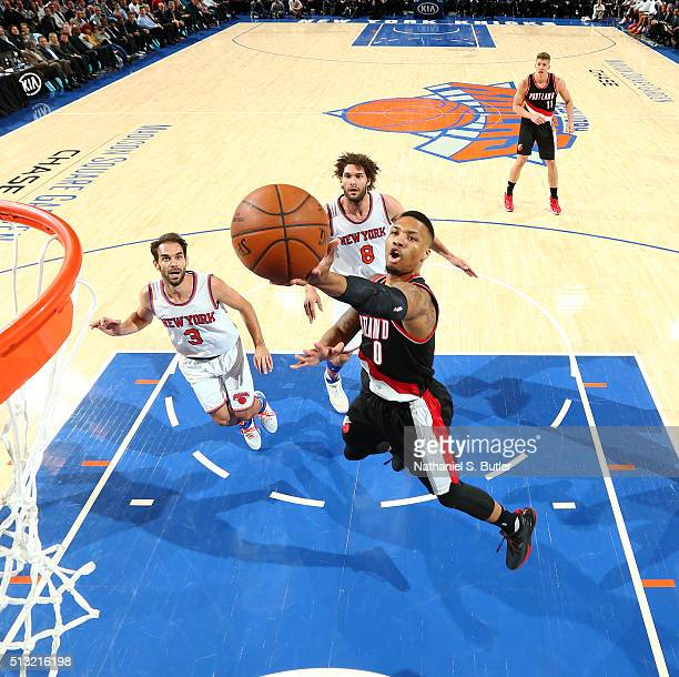 Damian Lillard of the Portland Trail Blazers shoots the ball against the New York Knicks on March 1 2016 at Madison Square Garden in New York City...