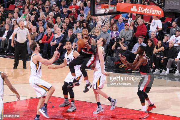 Damian Lillard of the Portland Trail Blazers shoots the ball against the Utah Jazz on April 8 2017 at the Moda Center in Portland Oregon NOTE TO USER...