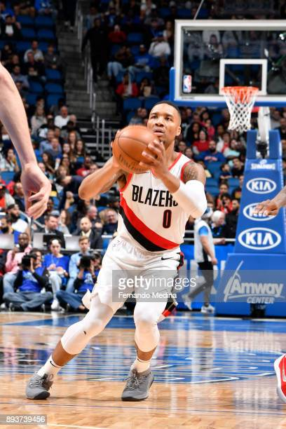 Damian Lillard of the Portland Trail Blazers shoots the ball against the Orlando Magic on December 15 2017 at Amway Center in Orlando Florida NOTE TO...