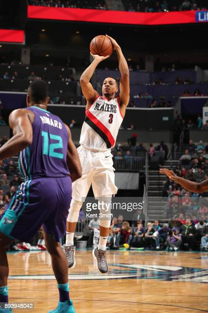 Damian Lillard of the Portland Trail Blazers shoots the ball against the Charlotte Hornets on December 16 2017 at Spectrum Center in Charlotte North...