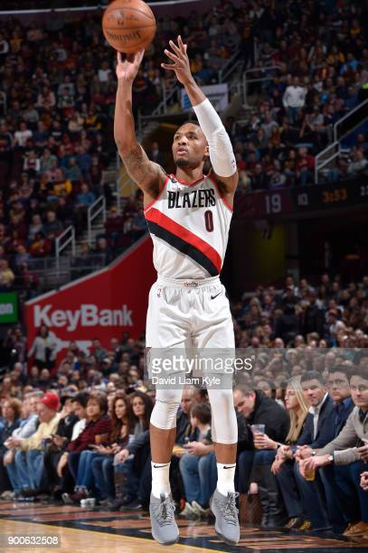 Damian Lillard of the Portland Trail Blazers shoots the ball against the Cleveland Cavaliers on January 2 2018 at Quicken Loans Arena in Cleveland...