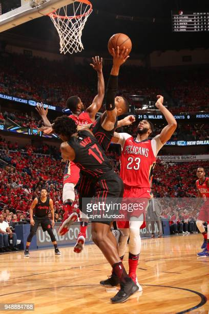 Damian Lillard of the Portland Trail Blazers shoots the ball against the New Orleans Pelicans in Game Three of Round One of the 2018 NBA Playoffs on...