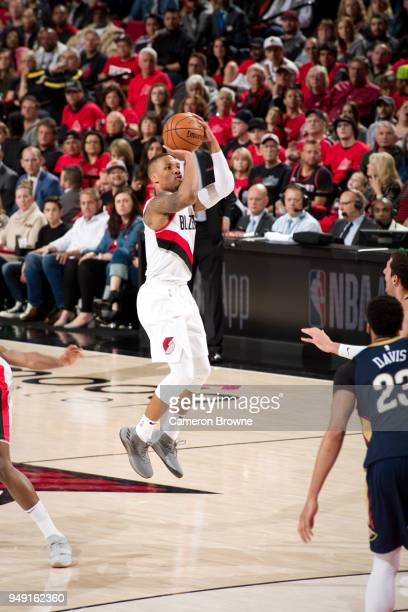 Damian Lillard of the Portland Trail Blazers shoots the ball against the New Orleans Pelicans in Game Two of the Western Conference Quarterfinals...