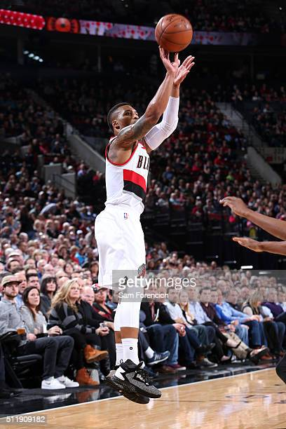 Damian Lillard of the Portland Trail Blazers shoots the ball during the game against the Brooklyn Nets on February 23 2016 at the Moda Center Arena...