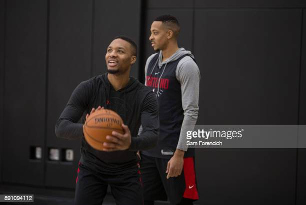 Damian Lillard of the Portland Trail Blazers shoots the ball during an all access practice on December 7 2017 at the Trail Blazer Practice Facility...