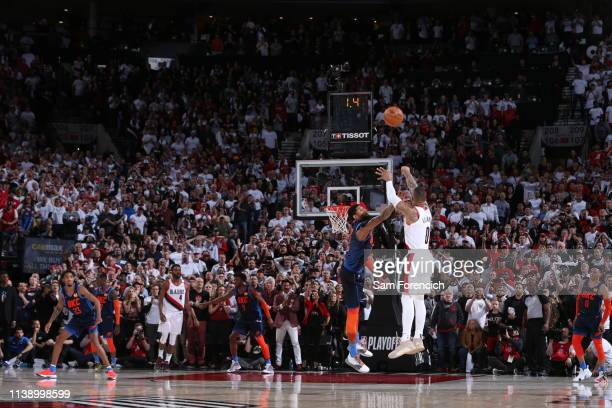 Damian Lillard of the Portland Trail Blazers shoots the three-point shot to win the game against the Oklahoma City Thunder during Game Five of Round...