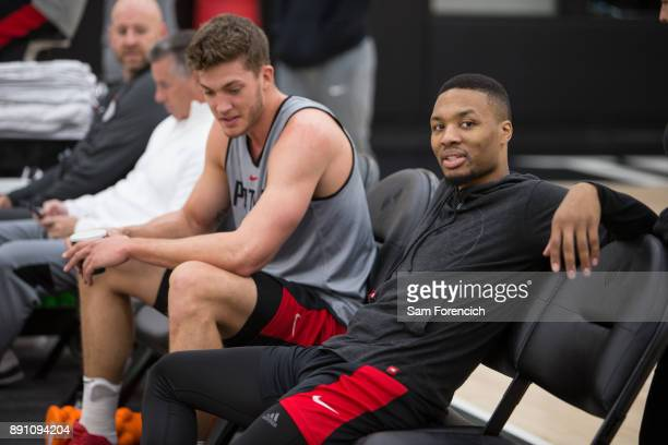 Damian Lillard of the Portland Trail Blazers smile and laughs during an all access practice on December 7 2017 at the Trail Blazer Practice Facility...