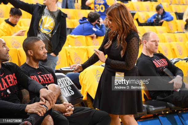 Damian Lillard of the Portland Trail Blazers speaks to Rachel Nichols before Game Two of the Western Conference Finals against the Golden State...