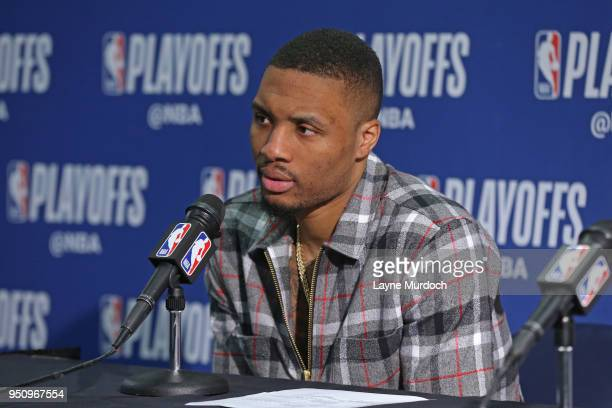 Damian Lillard of the Portland Trail Blazers speaks with media after the game against the New Orleans Pelicans in Game Four of Round One of the 2018...