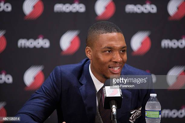 Damian Lillard of the Portland Trail Blazers speaks with the media after signing a new contract with the team July 9 2015 at the Trail Blazer...