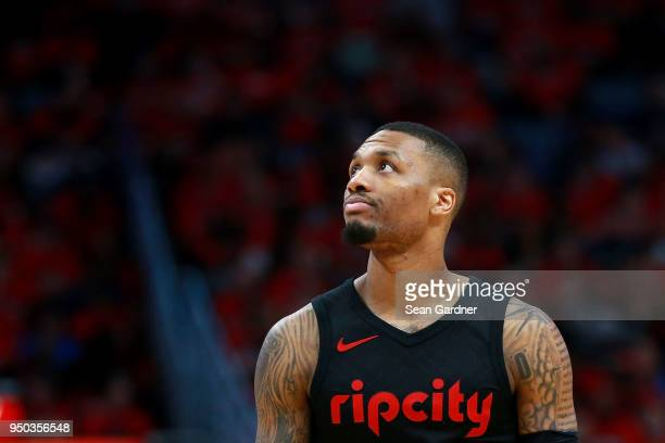Damian Lillard of the Portland Trail Blazers stands on th court during Game 3 of the Western Conference playoffs against the Portland Trail Blazers...