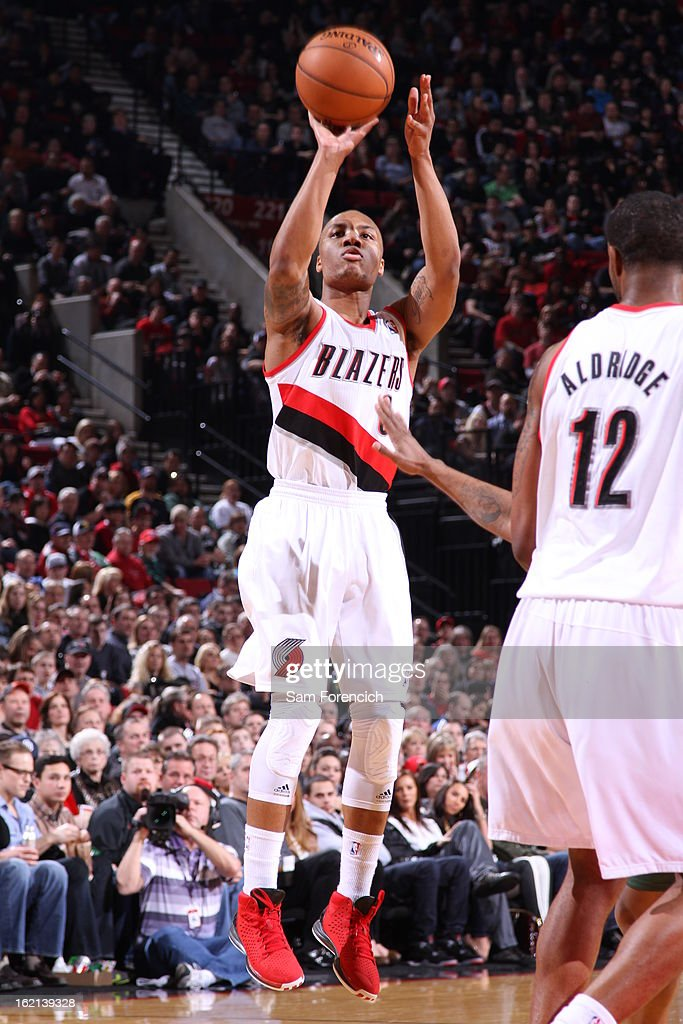 Damian Lillard #0 of the Portland Trail Blazers takes a shot against the Utah Jazz on February 2, 2013 at the Rose Garden Arena in Portland, Oregon.