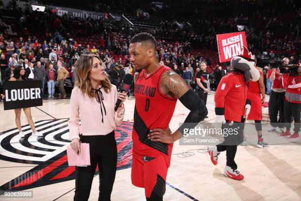 Damian Lillard of the Portland Trail Blazers talks with the media after the game against the Cleveland Cavaliers on March 15 2018 at the Moda Center...