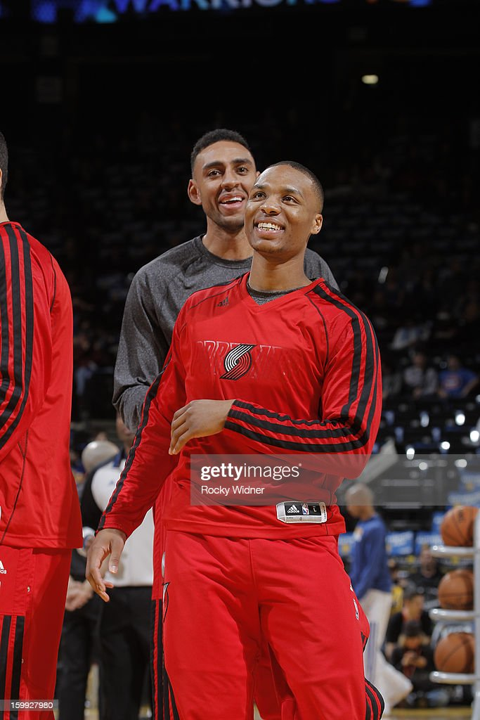 Damian Lillard #0 of the Portland Trail Blazers warms up before a game against the Golden State Warriors on January 11, 2013 at Oracle Arena in Oakland, California.