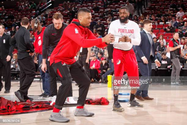 Damian Lillard of the Portland Trail Blazers warms up before the game against the Cleveland Cavaliers on March 15 2018 at the Moda Center in Portland...