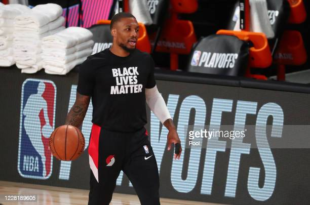 Damian Lillard of the Portland Trail Blazers warms up before the first half against the Los Angeles Lakers in game four of the first round of the...