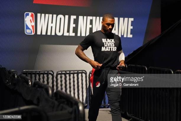 Damian Lillard of the Portland Trail Blazers warms up prior to a game against the Los Angeles Lakers during Round One Game Four of the NBA Playoffs...