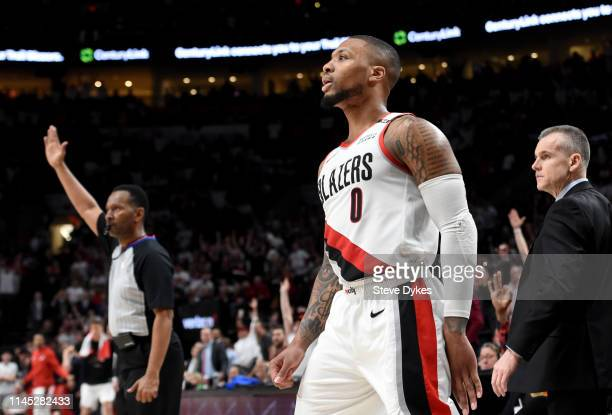 Damian Lillard of the Portland Trail Blazers watches the flight of his ball as he hits a shot during the second half of Game Five of the Western...