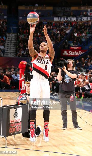 Damian Lillard of the Portland Trail Blazersduring the Foot Locker ThreePoint Contest on State Farm AllStar Saturday Night as part of the 2014...