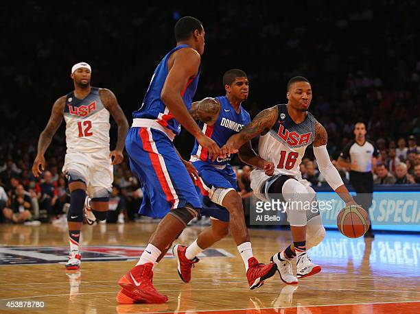Damian Lillard of the USA drives to the basket against the Dominican Republic during their game at Madison Square Garden on August 20 2014 in New...
