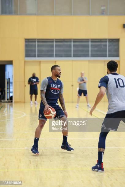 Damian Lillard of the USA Men's National Team handles the ball as Jayson Tatum of the USA Men's National Team plays defense during the USAB Men's...