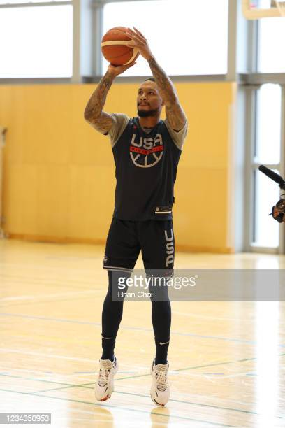 Damian Lillard of the USA Men's National Team shoots the ball during USAB Mens National Team practice on July 29, 2021 in Tokyo, Japan. NOTE TO USER:...