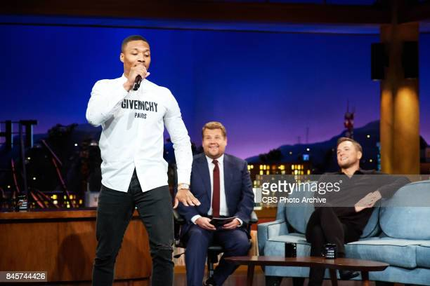 Damian Lillard performs an impromptu rap while Taron Egerton and James Corden watch during 'The Late Late Show with James Corden' Friday September 8...