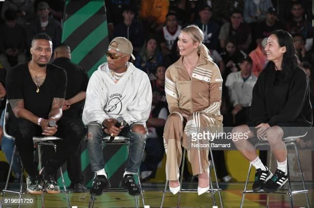 Damian Lillard Pharrell Williams Karlie Kloss and Alexander Wang at adidas Creates 747 Warehouse St an event in basketball culture on February 17...