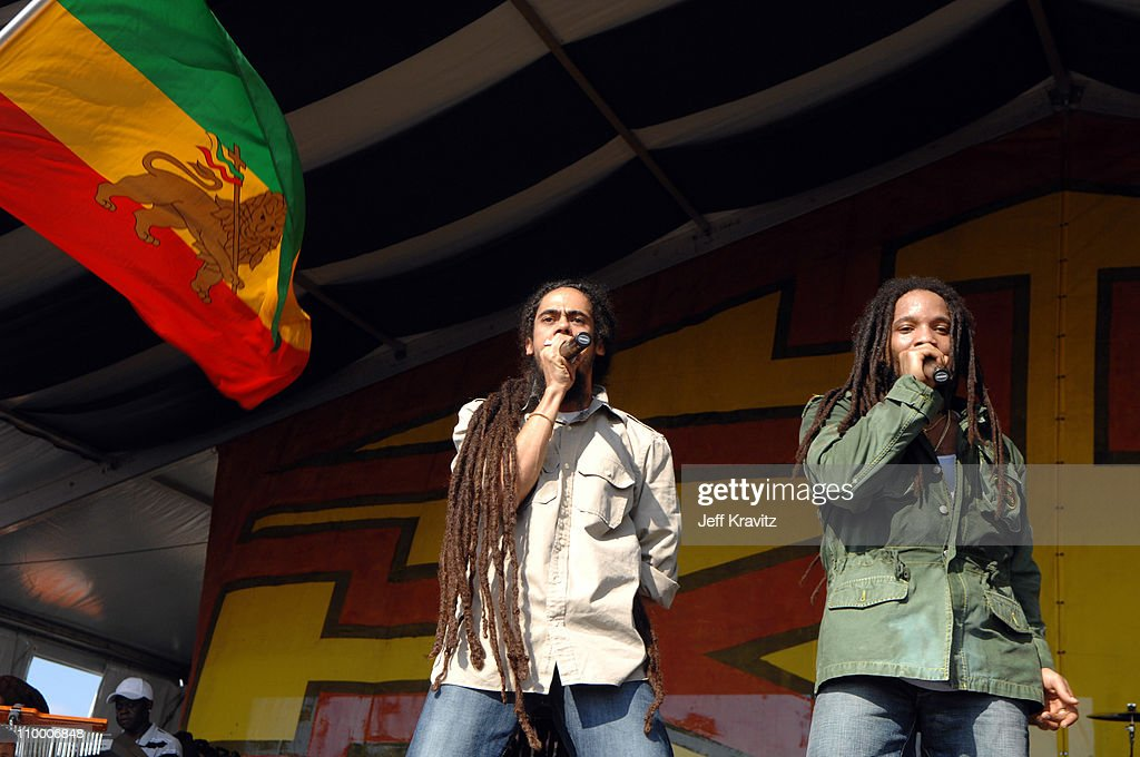Damian Marley, and Stephen Marley during 38th Annual New Orleans Jazz & Heritage Festival Presented by Shell - Stephen Marley featuring Jr. Gong at New Orleans Fair Grounds in New Orleans, Louisiana, United States.