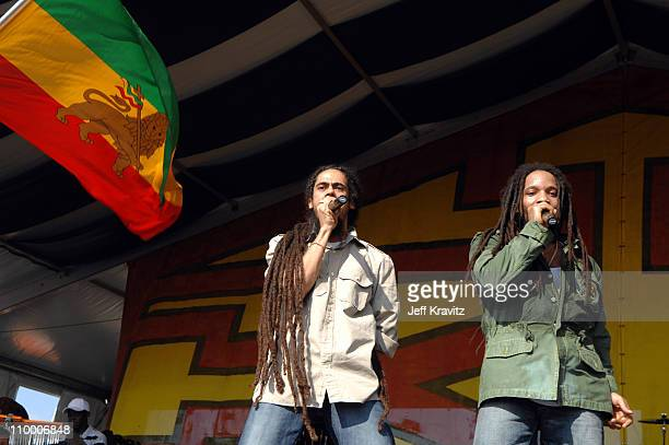 Damian Marley and Stephen Marley during 38th Annual New Orleans Jazz Heritage Festival Presented by Shell Stephen Marley featuring Jr Gong at New...