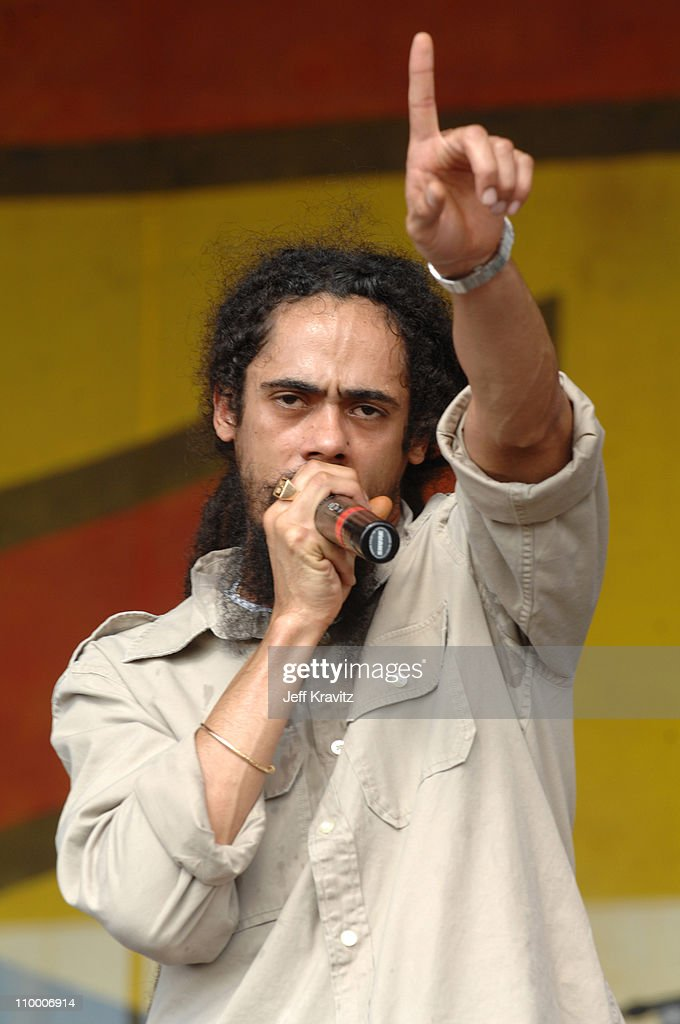 Damian Marley during 38th Annual New Orleans Jazz & Heritage Festival Presented by Shell - Stephen Marley featuring Jr. Gong at New Orleans Fair Grounds in New Orleans, Louisiana, United States.