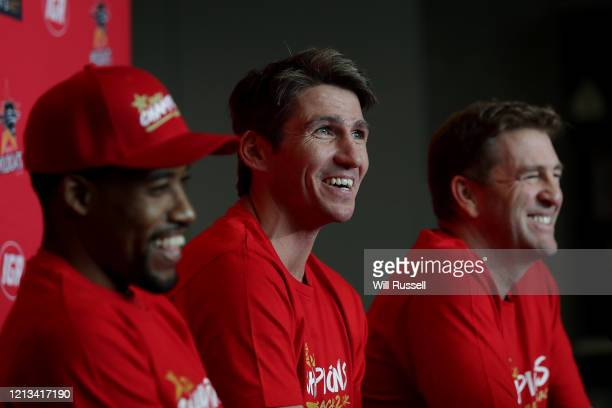 Damian Martin, Bryce Cotton and Trevor Gleeson, coach of the Wildcats speak to the media after the Perth Wildcats were awarded the 2019/20 Hungry...