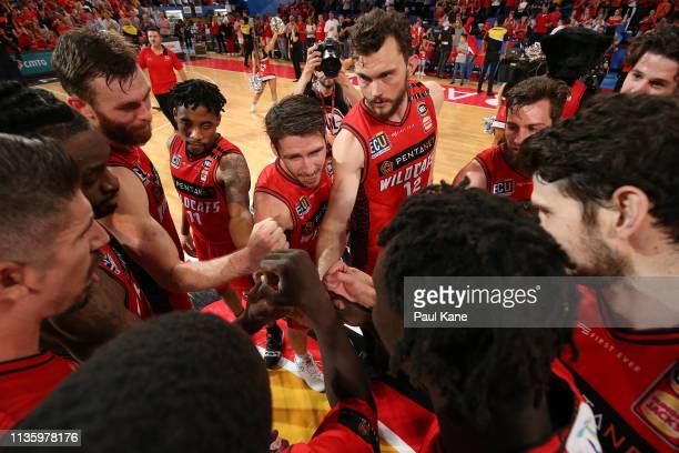 Damian Martin of the Wildcats addresses his team after winning game three of the NBL Grand Final Series between the Perth Wildcats and Melbourne...