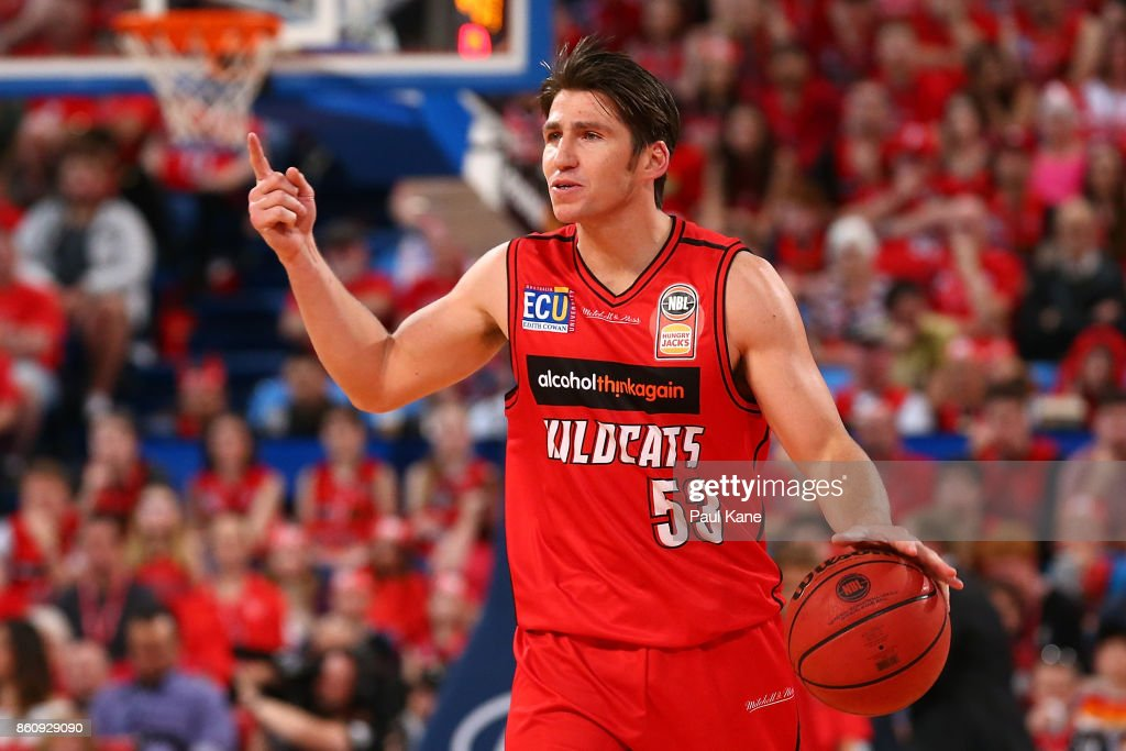 Damian Martin of the Wildcats brings the ball up the court during the round two NBL match between the Perth Wildcats and the Illawarra Hawks at Perth Arena on October 13, 2017 in Perth, Australia.