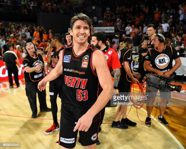 Damian Martin of the Wildcats celebrates after winning the round 12 NBL match between the Cairns Taipans and the Perth Wildcats at Cairns Convention...
