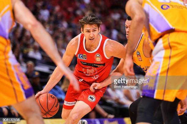 Damian Martin of the Wildcats controls the ball during the round 15 NBL match between the Sydney Kings and the Perth Wildcats at Qudos Bank Arena on...