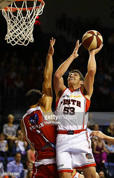 Damian Martin of the Wildcats drives to the basket during game two of the NBL Semi Final series between the Wollongong Hawks and the Perth Wildcats...