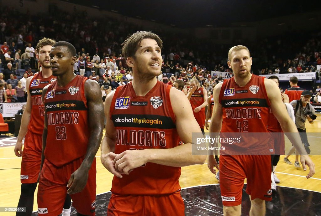 Damian Martin of the Wildcats smiles after victory in game two of the NBL Grand Final series between the Perth Wildcats and the Illawarra Hawks at WIN Entertainment Centre on March 1, 2017 in Wollongong, Australia.