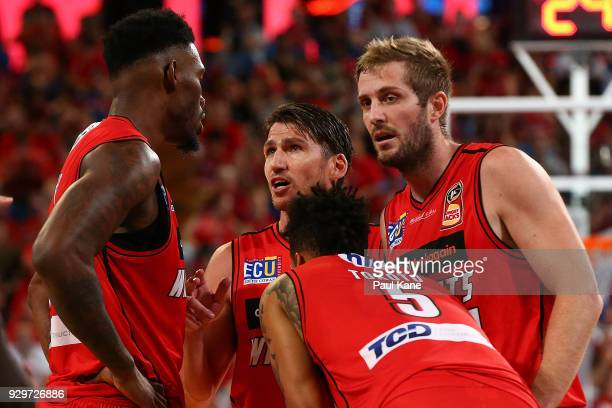 Damian Martin of the Wildcats talks to Derek Cooke Jr JeanPierre Tokoto and Jesse Wagstaff of the Wildcats during game two of the NBL Semi Final...