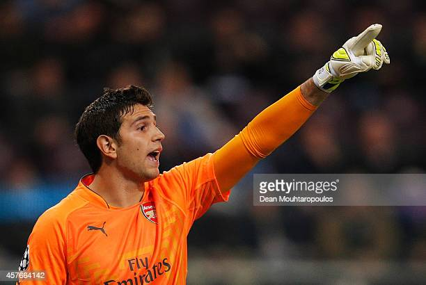 Damian Martinez of Arsenal signals during the UEFA Champions League Group D match between RSC Anderlecht and Arsenal at Constant Vanden Stock Stadium...