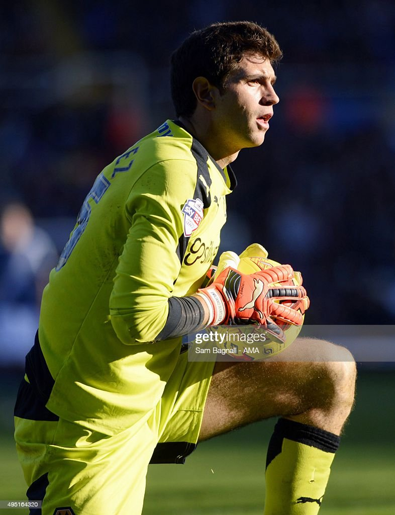 Damian Martinez of Wolverhampton Wanderers during the Sky Bet Championship match between Birmingham City and Wolverhampton Wanderers at St Andrews on October 31, 2015 in Birmingham, United Kingdom.
