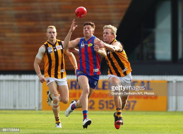 Damian Mascitti of Port Melbourne juggles the ball during the round seven VFL match between Port Melbourne and Box Hill at North Port Oval on June 3...
