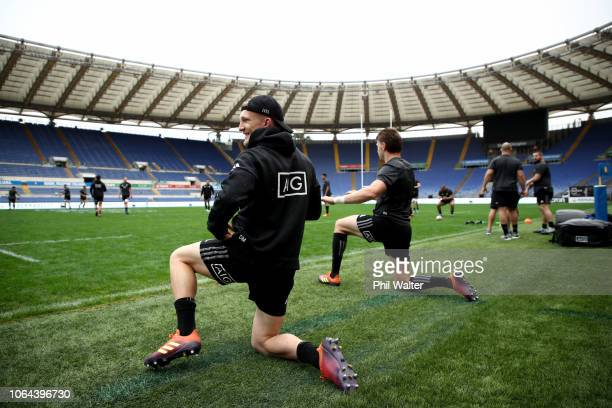 Damian McKenzie and Beauden Barrett of the New Zealand All Blacks during the All Blacks Captains Run at Stadio Olimpico on November 23 2018 in Rome...