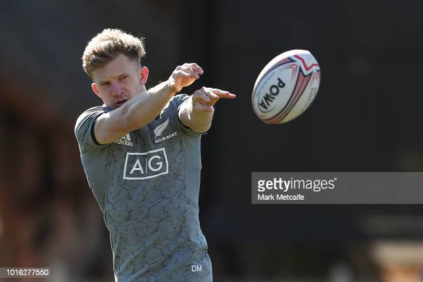 Damian McKenzie in action during a New Zealand All Blacks training session at North Sydney Oval on August 14 2018 in Sydney Australia