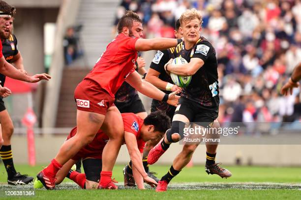 Damian Mckenzie of Chiefs runs with the ball during the Super Rugby match between Sunowlves and Chiefs at Prince Chichibu Memorial Ground on February...