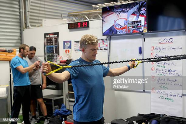 Damian McKenzie of the All Blacks during a gym session at Les Mills on May 30 2016 in Auckland New Zealand