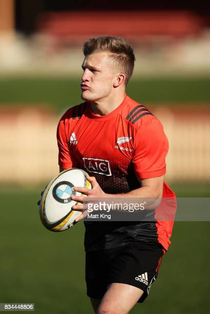 Damian McKenzie of the All Blacks handles the ball during the New Zealand All Blacks captain's run at North Sydney Oval on August 18 2017 in Sydney...