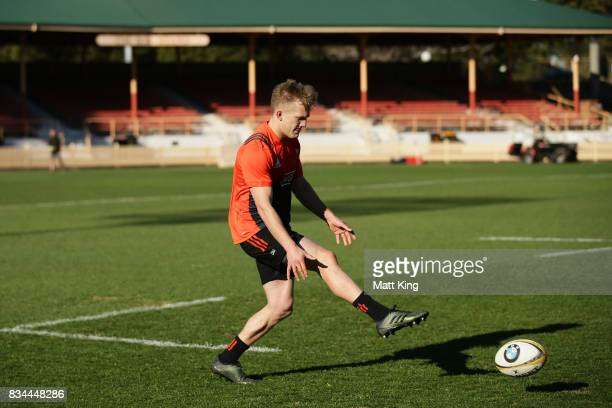 Damian McKenzie of the All Blacks kicks during the New Zealand All Blacks captain's run at North Sydney Oval on August 18 2017 in Sydney Australia