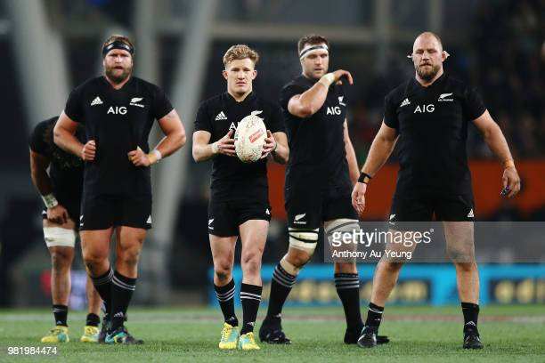 Damian McKenzie of the All Blacks looks to put the ball to touch during the International Test match between the New Zealand All Blacks and France at...