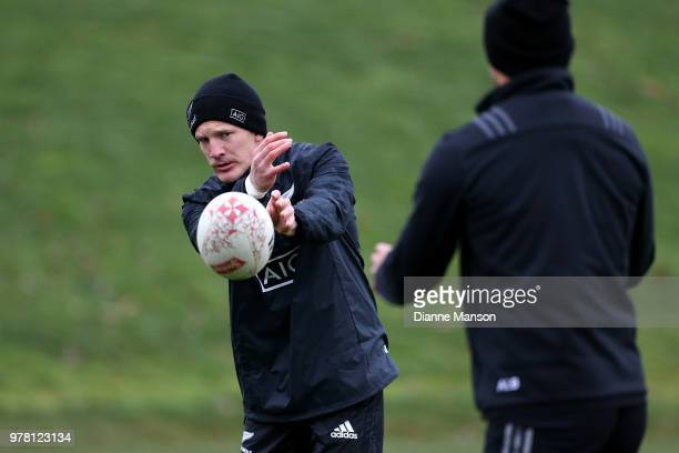 Damian McKenzie of the All Blacks passes the ball during a New Zealand All Blacks training session on June 19 2018 in Dunedin New Zealand